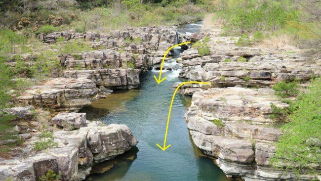 滑滝に飛び込む場所